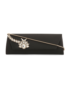 Aria Jewel Flap Clutch With Shoulder Strap