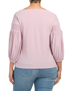 dd24460bae4ae ... Plus Size Crepe Knit Balloon Sleeve Top