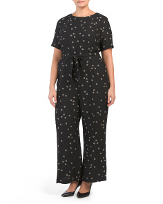 Plus Elbow Sleeve Ditsy Floral Belted Jumpsuit