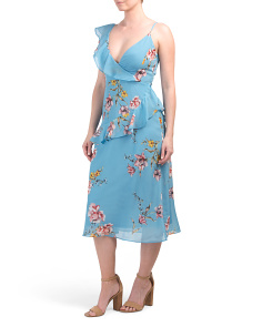 Boutique Floral Faux Wrap Midi Dress
