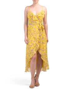 Floral Vines Wrap Hi Lo Midi Dress