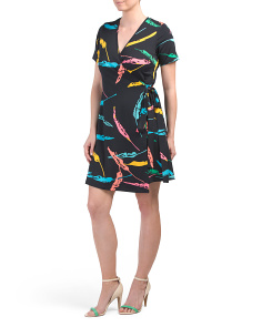 Marlina Feathers Wrap Dress