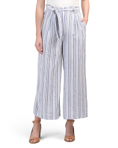 Paper Bag Waist Striped Linen Blend Pants
