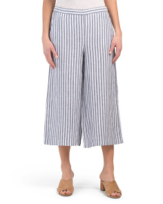 Linen Elastic Back Wide Leg Pants