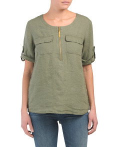 Linen Slit Back Zip Up Top