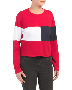 Juniors Middle Colorblock Top