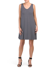 V Neck Swing Midi Stripe Dress