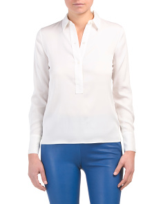 Slim Fitted Popover Silk Blend Shirt
