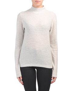 Wool And Cashmere Mock Neck Sweater