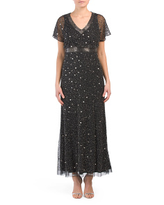 Petite Beaded V Neck Gown