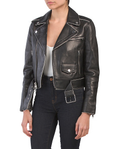 Shrunken Leather Moto Jacket