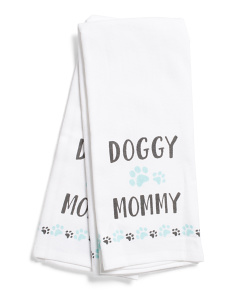 2pk Doggy Mommy Kitchen Towels