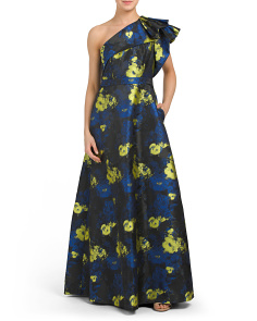 Printed Floral One Shoulder Gown