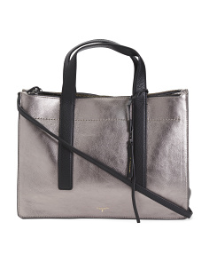 Metallic Triple Compartment Leather Tote