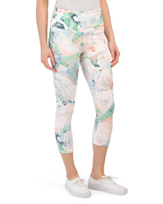 High Waist Rhapsody Print Capri Pants