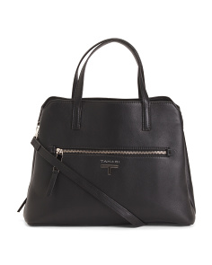 Lauren Triple Entry Leather Satchel
