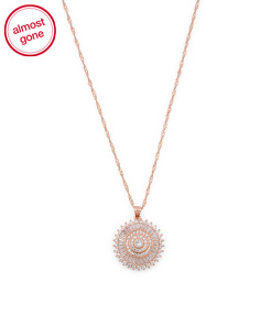Rose Gold Plated Sterling Silver Cz Medallion Necklace