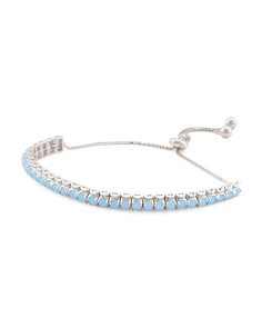 Sterling Silver Opal And Cz Adjustable Bracelet
