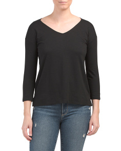 Pima Cotton V-neck Top