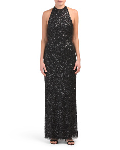 Petite All Over Beaded Halter Gown
