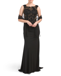 Petite Sleeveless Gown With Beaded Bodice