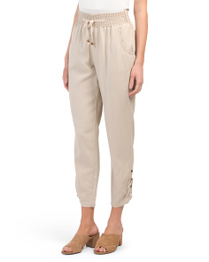 Juniors Linen Blend Smocked Waist Pants