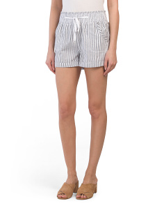 Juniors Railroad Stripe Linen Blend Shorts