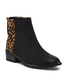 Leather Comfort Booties With Animal Detail