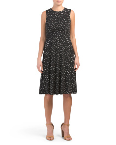 Petite Polka Dot Flare Midi Dress