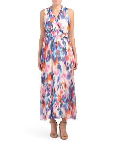 Petite Faux Wrap Watercolor Maxi Dress