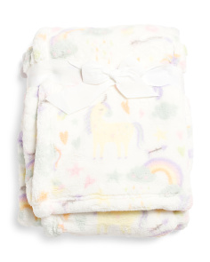 Unicorn Print Fleece Baby Throw