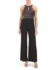 Petite Jumpsuit With Metallic Bodice