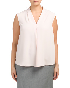 Plus Sleeveless V-neck Blouse