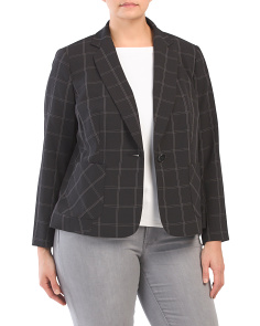 Plus Stretch Crepe Window Pane Blazer