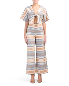 dfe43679d43e Tie Front Striped Jumpsuit ...