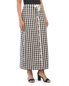 Button Front Gingham Maxi Skirt