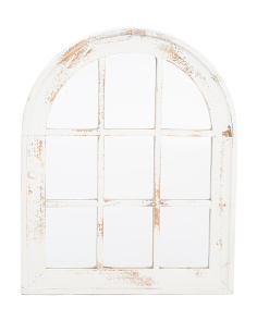 Wood Arch Window Pane Wall Mirror