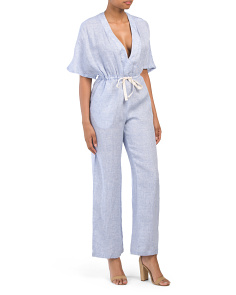 Linen Deep V-neck Drawstring Jumpsuit