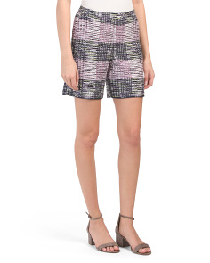 Anna Plaid Knit Shorts With Pockets