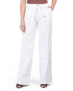 High Rise Tie Waist Wide Leg Jeans