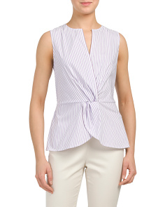 Pinstripe Shirting Front Diamante Top