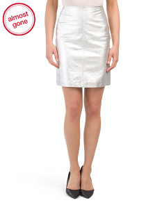 Metal Free Metallic Nappa Leather Mini Skirt