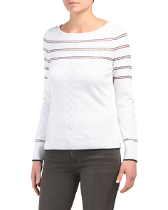 1ab6736f4 Sheer Stripe Cable Knit Boat Neck Sweater ...