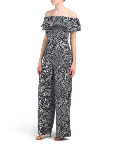 Off The Shoulder Pebble Crepe Jumpsuit