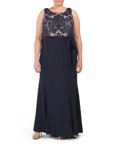 Plus Lace Trumpet Gown