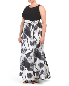 Plus Printed Mikado Trumpet Gown