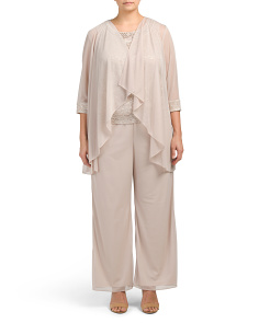 Plus 3pc Pantsuit With Beaded Neckline