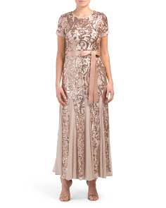 Petite Short Sleeve Gown With Sequins