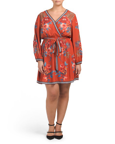 Plus Junior Floral Scarf Print Wrap Dress