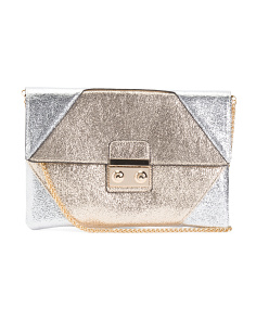 Metallic Color Block Clutch With Chain Shoulder Strap